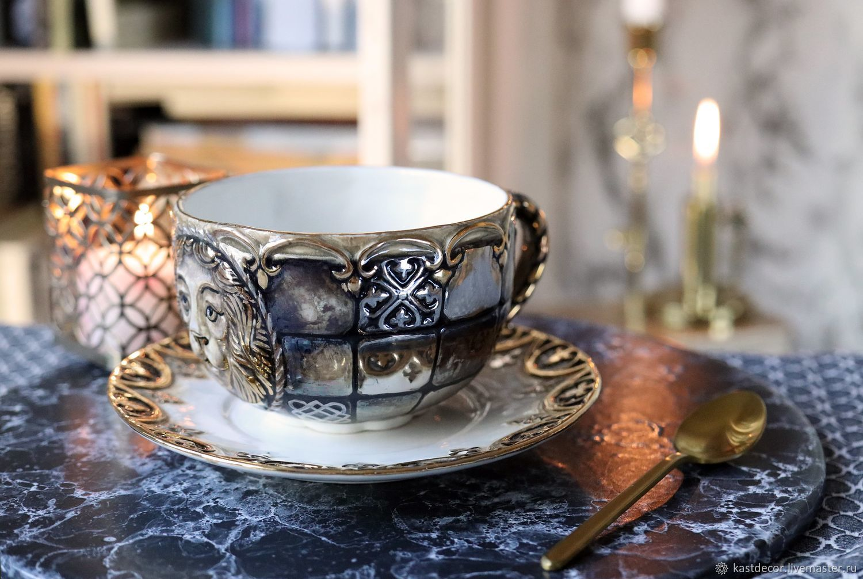 """Сервизы, чайные пары ручной работы. Ярмарка Мастеров - ручная работа. Купить Чайная фарфоровая пара """"Византия"""" со львом. Handmade."""