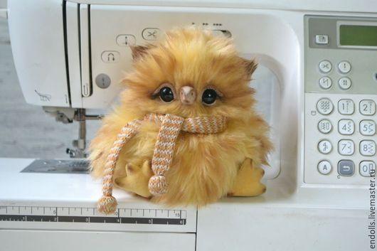 Мишки Тедди ручной работы. Ярмарка Мастеров - ручная работа. Купить Совенок в шарфике. Handmade. Желтый, птица, гранулят