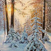 Картина маслом, зимний пейзаж,Рассвет