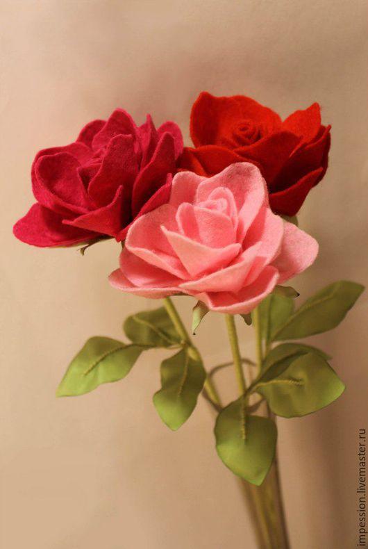 Цветы ручной работы. Ярмарка Мастеров - ручная работа. Купить Розы из фетра. Handmade. Букет, розы, девушке, бабушке, женщине