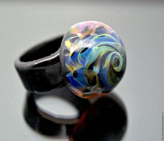 """Кольца ручной работы. Ярмарка Мастеров - ручная работа. Купить Кольцо """"Дыхание океана""""№2. Лэмпворк. Handmade. Синий"""