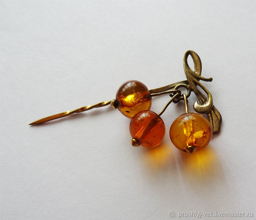 Brooch-needle with amber, Vintage brooches, Moscow,  Фото №1