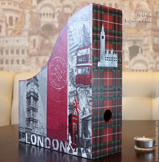 """Журнальницы ручной работы. Ярмарка Мастеров - ручная работа. Купить """"Я уеду жить в Лондон!"""", журнальница. Handmade. Серый"""