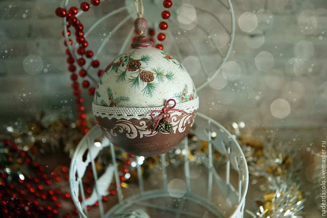 Balls And Christmas Houses. Decoupage Christmas
