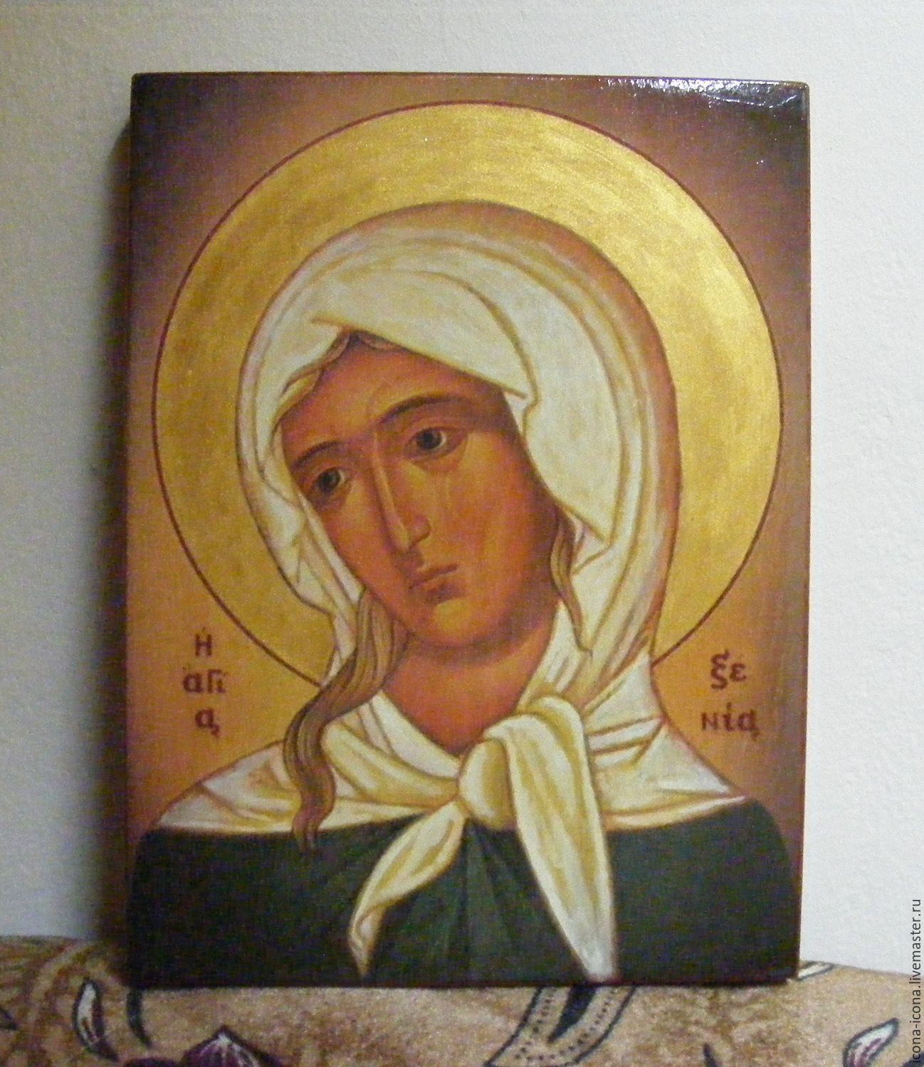 St. Xenia - hand-written icon of hot colors directly on the wood, Icons, Acre,  Фото №1