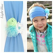 Работы для детей, ручной работы. Ярмарка Мастеров - ручная работа Повязка для девочки Light blue. Handmade.