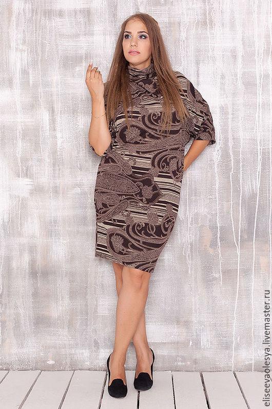 """Платья ручной работы. Ярмарка Мастеров - ручная работа. Купить Платье с воротником """"хомут""""27004-1. Handmade. Синий, трикотажное платье"""