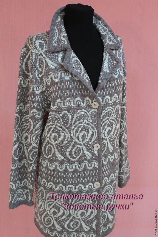 Верхняя одежда ручной работы. Ярмарка Мастеров - ручная работа. Купить Женское вязаное демисезонное пальто кардиган. Handmade. Комбинированный