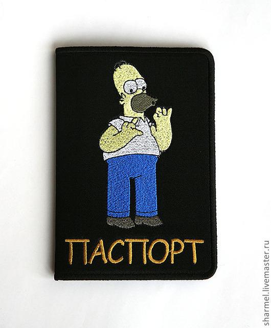 """Вышитая обложка для паспорта """"Симпсон Гомер"""".  Полезные вещицы от  Шармель-ки"""