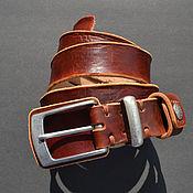 Ремни ручной работы. Ярмарка Мастеров - ручная работа Кожаный ремень из выделанной вручную бычьей кожи. Handmade.