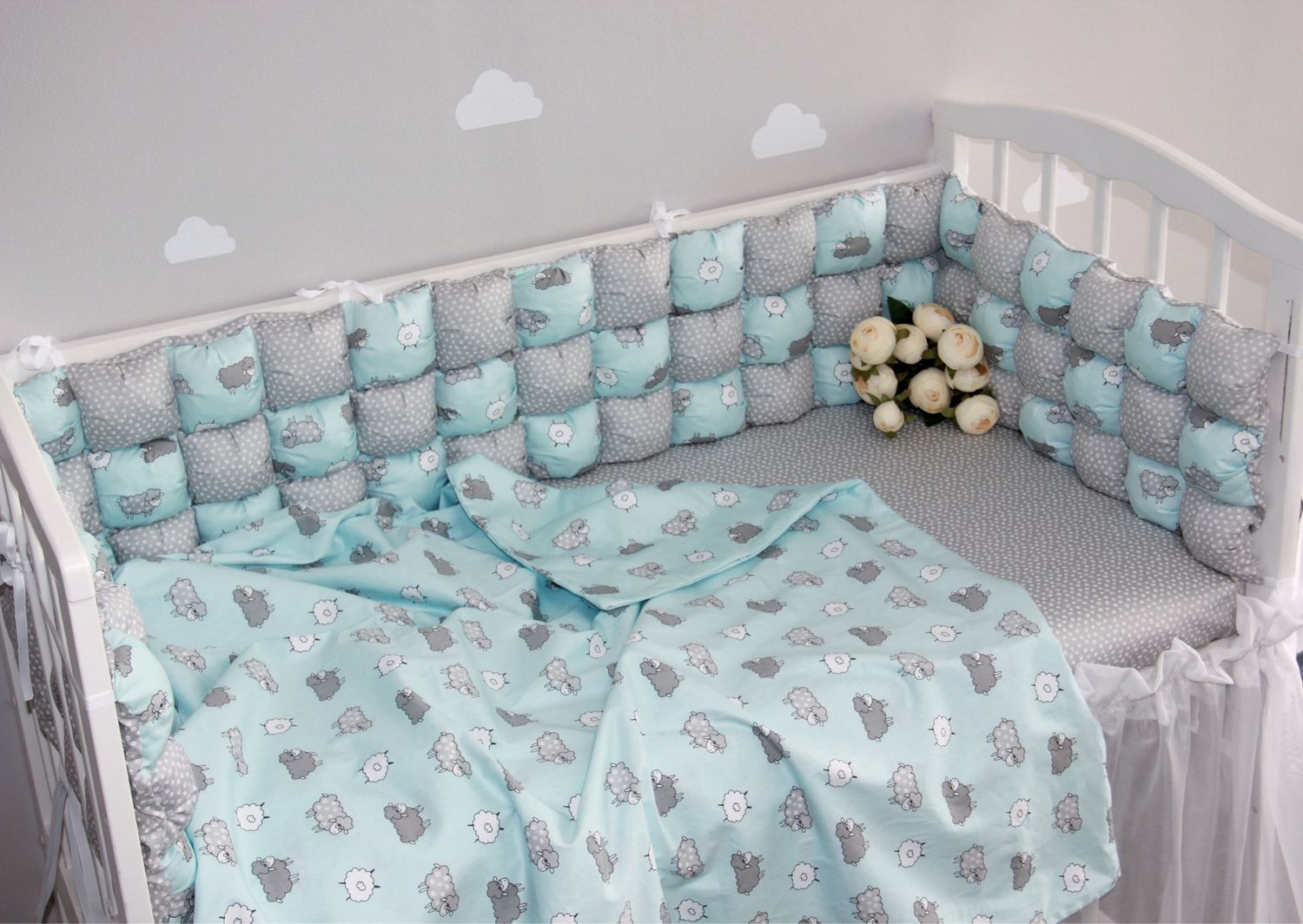 Set of bumpers in a children's bed, Sides for crib, Blagoveshchensk,  Фото №1