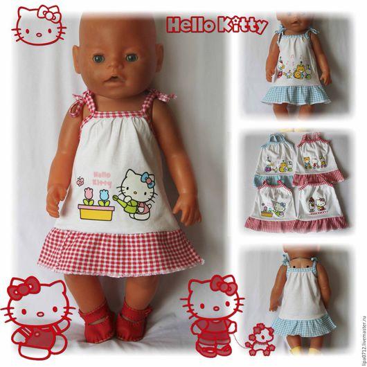 Одежда для кукол ручной работы. Ярмарка Мастеров - ручная работа. Купить Сарафан Hello Kitty. Handmade. Комбинированный, сарафан