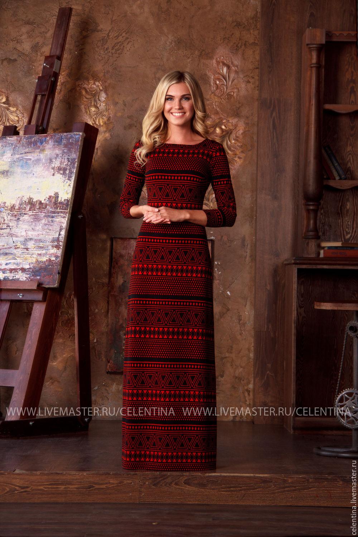 37e7ffbba50 ... Длинное прямое платье с модным геометрическим принтом