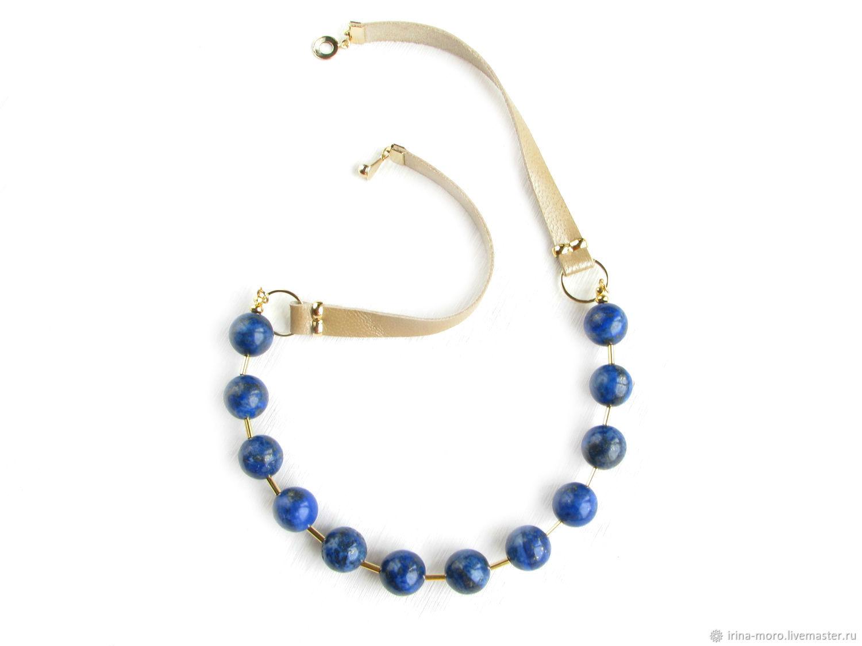 Lapis lazuli beads 'blue polka dots' lapis lazuli leather necklace, Necklace, Moscow,  Фото №1