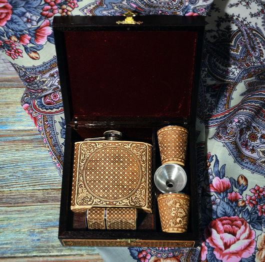 """Подарки для мужчин, ручной работы. Ярмарка Мастеров - ручная работа. Купить Набор """"Фляжка+стаканчики+зажигалка"""" Рыбалка подарок рыболову. Handmade. Металл"""