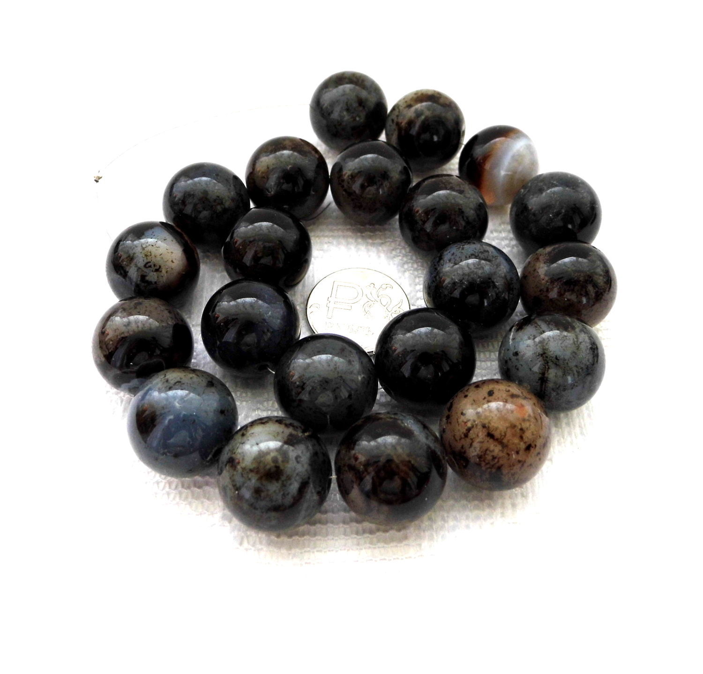 Агат 21 камень набор крупный черный серый бусины 17 мм, Бусины, Москва, Фото №1