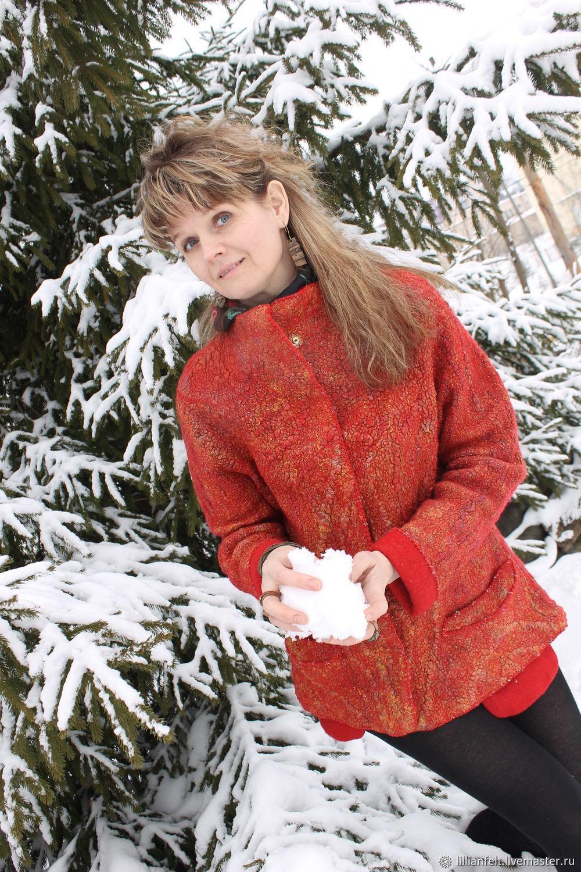 Textured red jacket, Suit Jackets, Gorodok,  Фото №1