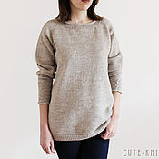 Одежда handmade. Livemaster - original item Sweater women knitted Latte with pigtails on the sleeves. Handmade.