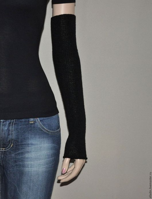 Варежки, митенки, перчатки ручной работы. Ярмарка Мастеров - ручная работа. Купить Рукава Zara (шерсть, полиамид). Handmade. Черный