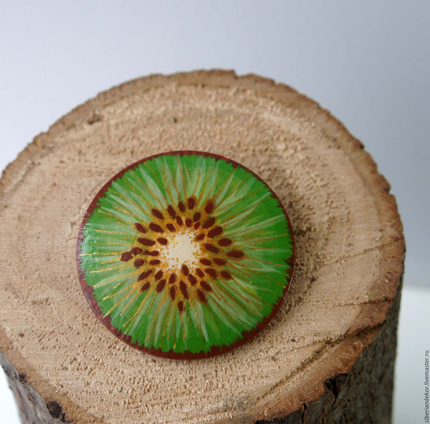 Brooch Gold kiwi. Wooden brooch handmade, Brooches, Tyumen,  Фото №1