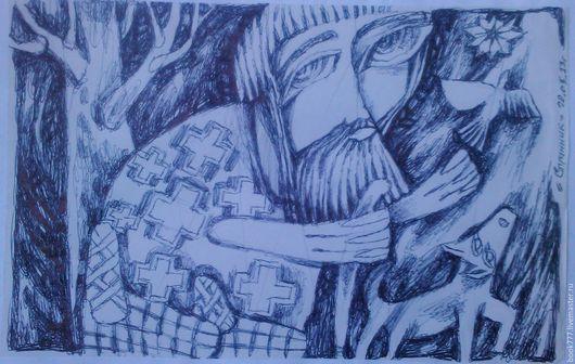 Символизм ручной работы. Ярмарка Мастеров - ручная работа. Купить Странник --- ( Чистая душа ). Handmade. Темно-серый