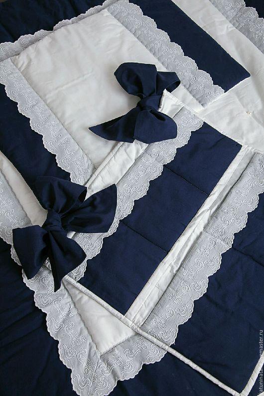 Для новорожденных, ручной работы. Ярмарка Мастеров - ручная работа. Купить Детский комплект в кроватку. Handmade. Комбинированный, одеяло для новорожденного