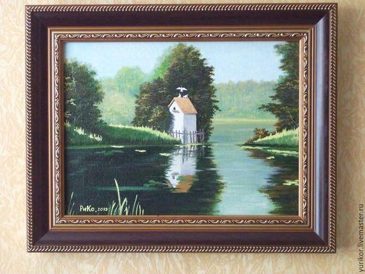 Символизм ручной работы. Ярмарка Мастеров - ручная работа. Купить Голубятня на озере. Handmade. Разноцветный, шедевр, Голуби, голубой, озеро
