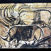 Картины и панно handmade. Livemaster - original item Rhinos of the Chauvet cave. Handmade.