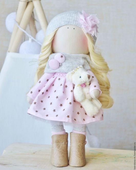 Коллекционные куклы ручной работы. Ярмарка Мастеров - ручная работа. Купить Интерьерная кукла. Handmade. Бледно-розовый, кукла из ткани