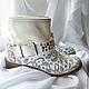 """Обувь ручной работы. Заказать Сапоги женские демисезонные с ручной росписью """"Огурцы"""". BelkaStyle -кеды, зонты, одежда. Ярмарка Мастеров."""