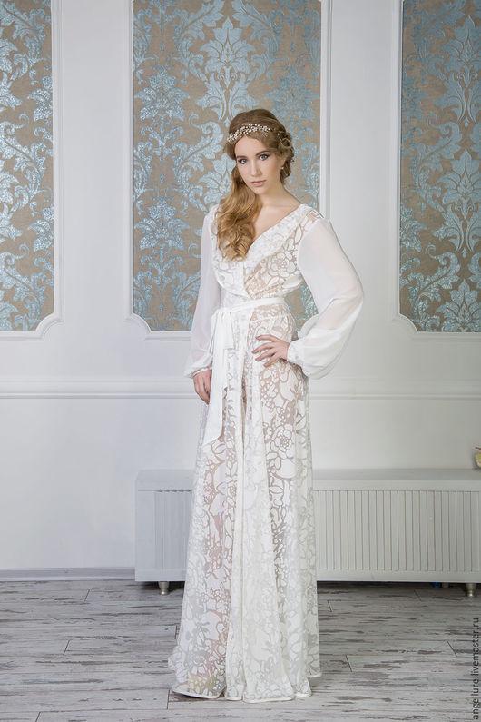 Халаты ручной работы. Ярмарка Мастеров - ручная работа. Купить Будуарное платье с цветочным рисунком Ellena  1614R. Handmade. Белый