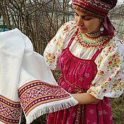 Русский стиль handmade. Livemaster - original item Towel embroidered. Handmade.