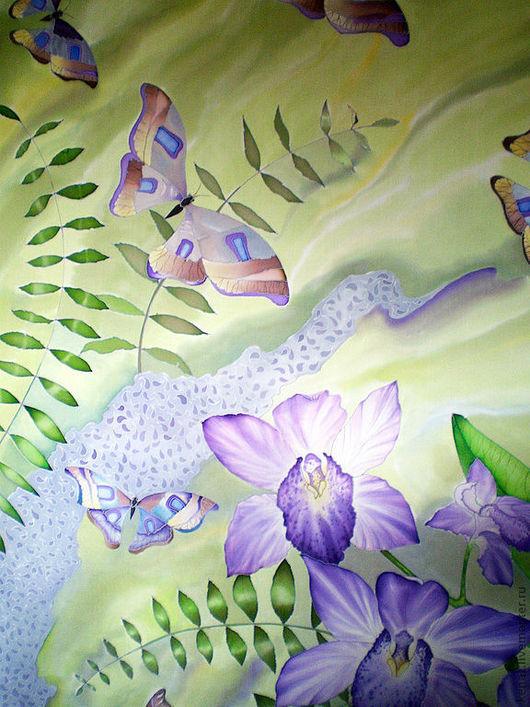 """Шали, палантины ручной работы. Ярмарка Мастеров - ручная работа. Купить Палантин шелковый  батик """"Орхидеи"""". Handmade. Орхидеи, бабочки"""