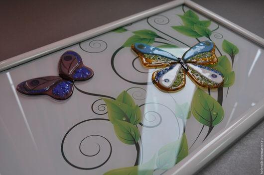 Картины цветов ручной работы. Ярмарка Мастеров - ручная работа. Купить Панно с бабочками. Handmade. Комбинированный, стекло, панно на стену
