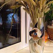 Для дома и интерьера ручной работы. Ярмарка Мастеров - ручная работа Ваза стеклянная с рисунком. Handmade.