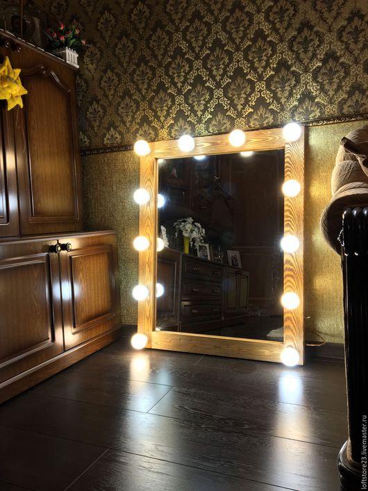 Зеркала ручной работы. Ярмарка Мастеров - ручная работа. Купить Гримерное зеркало OLD TIMBER. Handmade. Бежевый, зеркало в раме