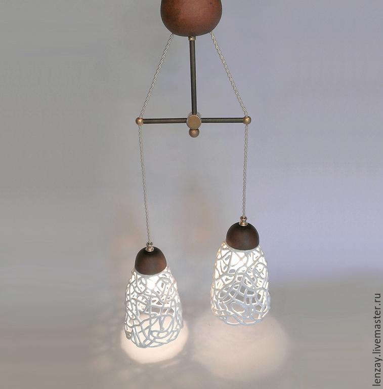 Светильник `Пена шампанского` с двумя плафонами. Плетеная керамика Елены Зайченко