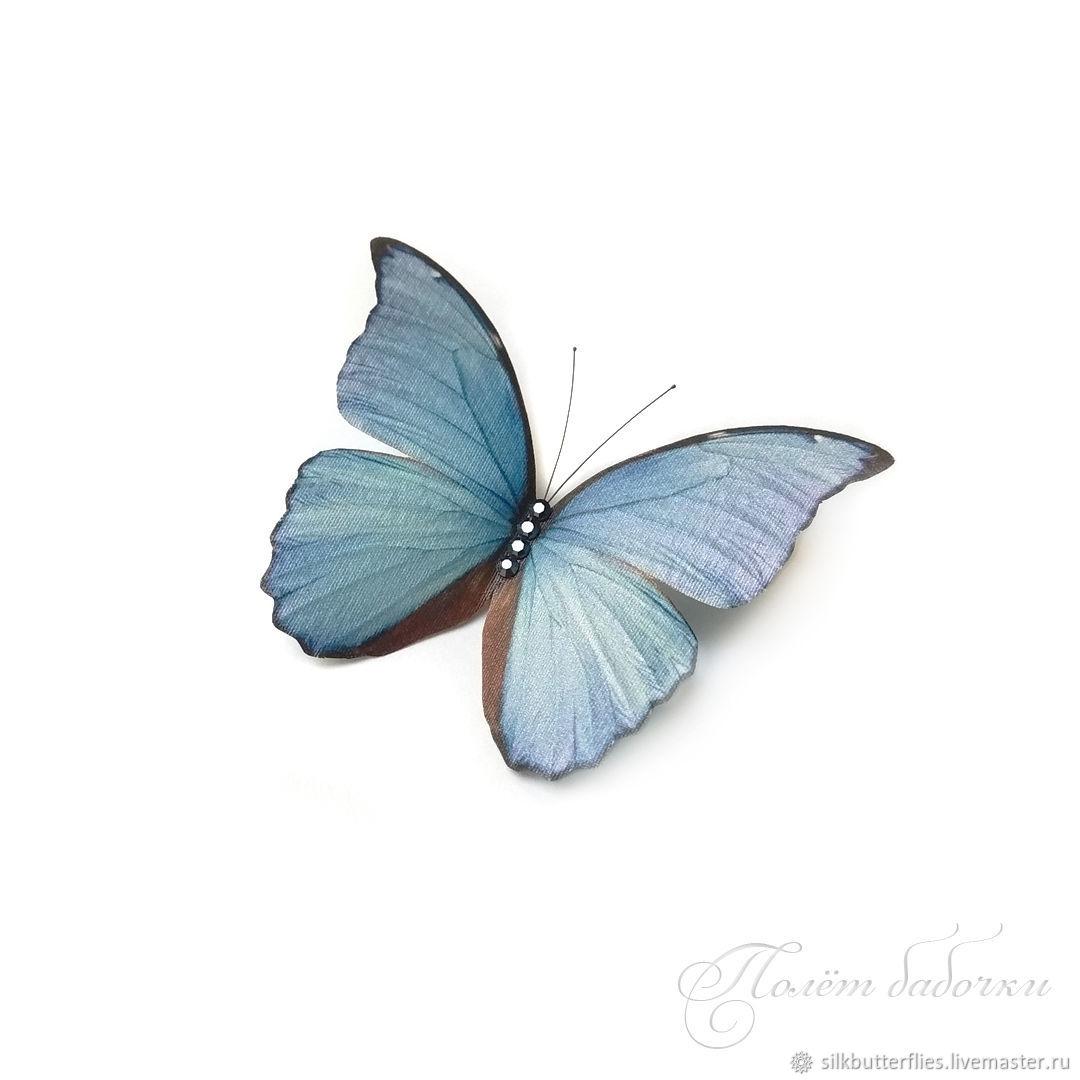 Брошь Бабочка голубая Морфо. Бабочка из шёлка, Броши, Химки, Фото №1