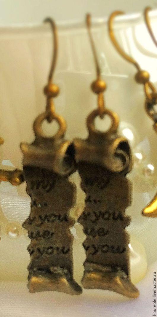"""Серьги ручной работы. Ярмарка Мастеров - ручная работа. Купить """"Magic letters"""" серьги под старинную бронзу. Handmade. Золотой"""