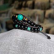 Браслет из бусин ручной работы. Ярмарка Мастеров - ручная работа Браслет Чан Лу кожаный из натуральных камней 10. Handmade.