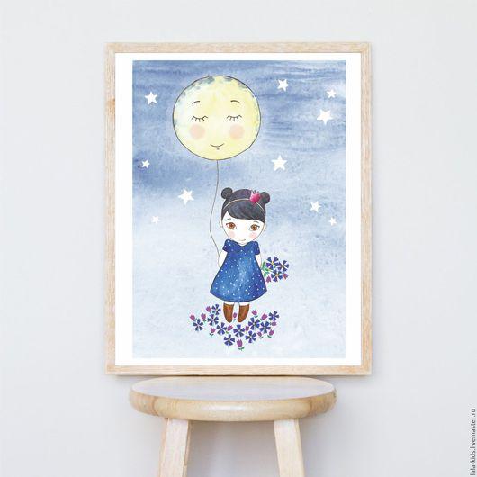 Детская ручной работы. Ярмарка Мастеров - ручная работа. Купить Постер для детской Девочка с луной. Handmade. Постер, интерьерное украшение