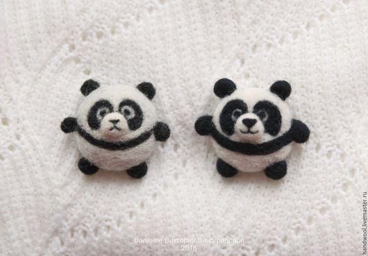 Броши ручной работы. Ярмарка Мастеров - ручная работа. Купить Брошка панда из шерсти. Handmade. Панда, брошь из войлока