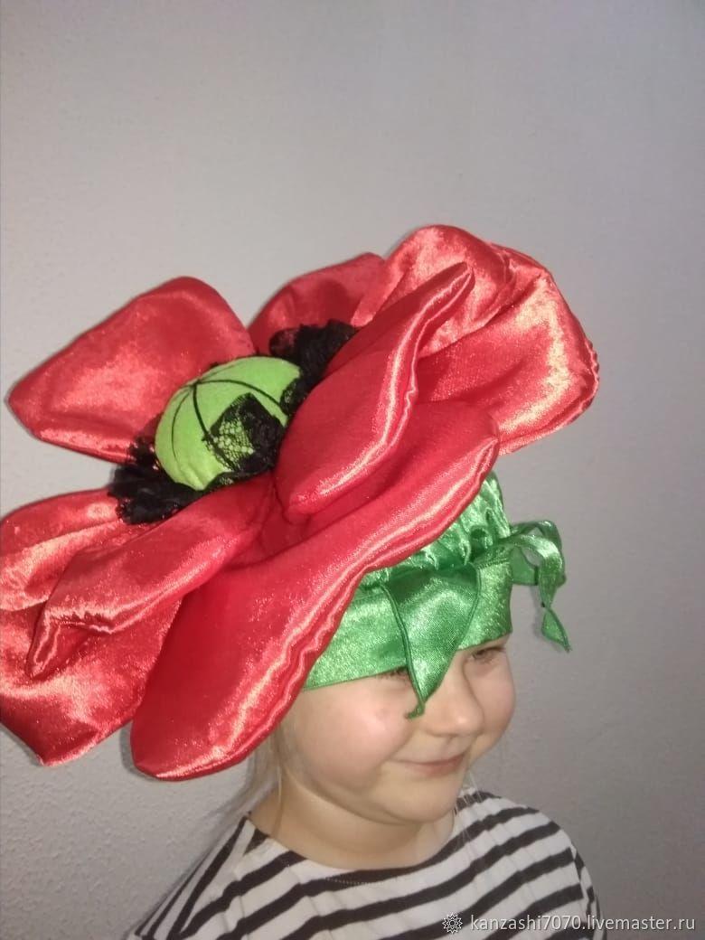 Headdress ' poppy', Carnival Hats, Moscow,  Фото №1