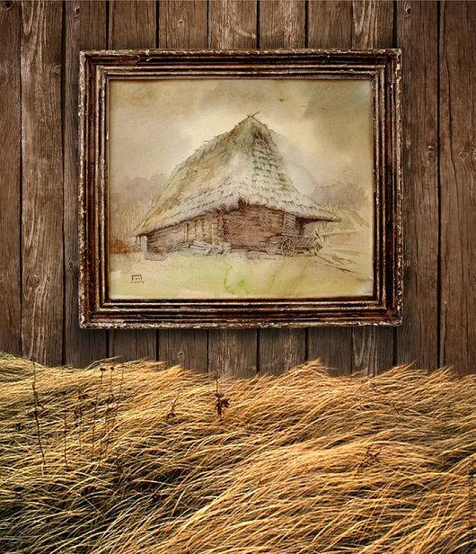 Пейзаж ручной работы. Ярмарка Мастеров - ручная работа. Купить картина акварелью Пасмурно уже давно...(рама ручной декор, коричневый). Handmade.