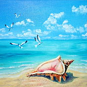 Картины и панно handmade. Livemaster - original item Painting Sea Seascape with shell oil as the sea roars. Handmade.