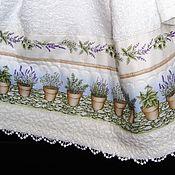 Для дома и интерьера ручной работы. Ярмарка Мастеров - ручная работа ЛАВАНДА - комплект махровых полотенец (3 шт). Handmade.