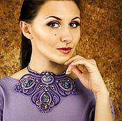 Украшения handmade. Livemaster - original item Purple soutache necklace Starry sky. Handmade.
