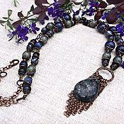 Украшения handmade. Livemaster - original item Necklace with pendant with pendant from larvikite