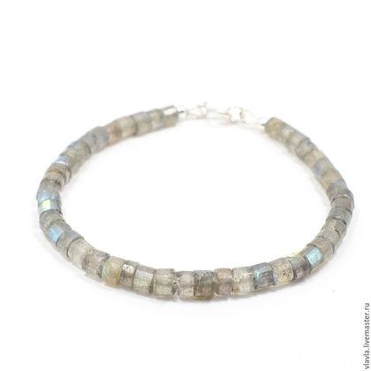 Браслеты ручной работы. Ярмарка Мастеров - ручная работа. Купить Серебряный браслет из лабрадорита (серый браслет из серебра 925 18см). Handmade.