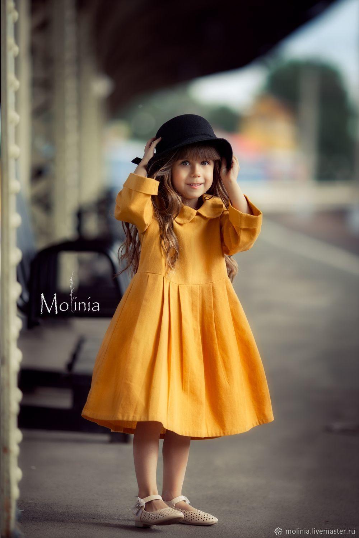 Платье для девочки льняное Бетти горчичное, Платья, Калининград,  Фото №1